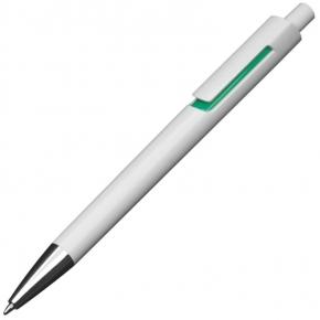 Kunststoffkugelschreiber weiß mit farbigen Applikationen und blau schreibender Großraummine