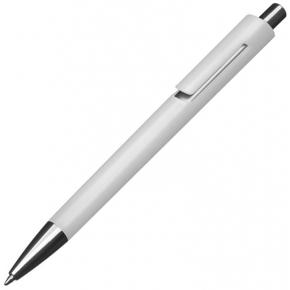 Kunststoffkugelschreiber farbig mit silbernen Applikationen und blau schreibender Großraummine