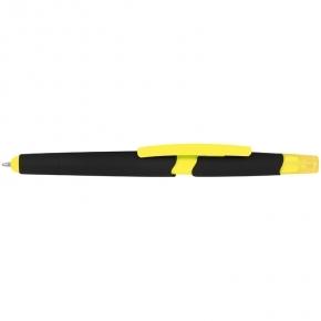 Stylo-bille en plastique avec surligneur et fonction tactile