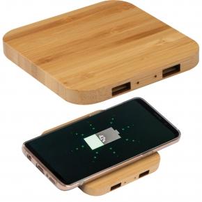 Wireless Charger aus Bambus mit 2 USB-Hubs