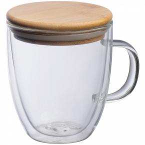 Doppelwandiges Glas mit Griff und einem einem Füllvermögen von 350 ml