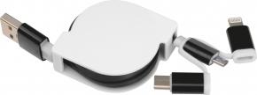 Verlängerbares Ladekabel mit 3 Steckern