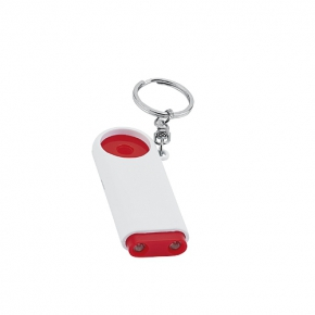 Plastic key ring with 2 LED lights and 1€ chip for shopping cart
