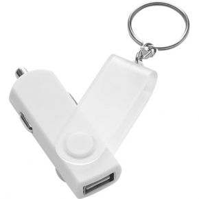 USB car power adapter with key ring
