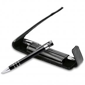 Aluminium ball pen and mechanical pencil set, PU gift box