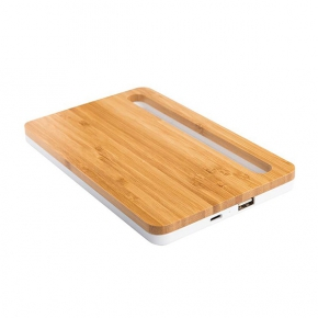 Wireless bamboo charging base, with mobile phone holder